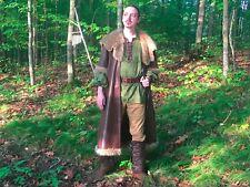 Coat faux leather and fur Renaissance Medieval Fair GOT Viking costume Con
