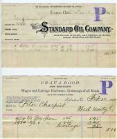 2EA 1891-92 TOLEDO OHIO BILLHEAD, STANDARD OIL CO,  CRAY & ROOD IRON MERCHANTS