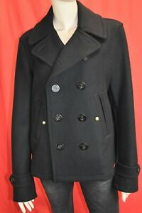 NWT BURBERRY BRIT SWIFTSURE BLACK WOOL LOGO BUTTONS DOUBLE BREASTED COAT M