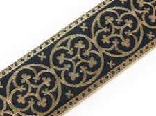 2¼ Vestment Jacquard Trim. Pugin Cross Antique Reproduction. Gold on Black