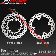 Front & Rear Brake Disc Rotor For Honda CRF250 2004-2010 CRF450 2002-2010