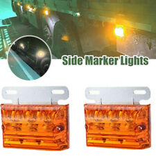 2PC 12/24V LED Truck Boat Side Marker Indicator Lights Clearance Roof Lamp Amber