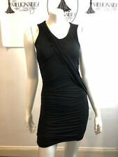 CLUB MONACO 141117 BLACK FITTED RUCHED DRESS SZ XS