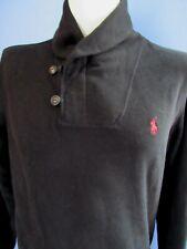 Men's (M) POLO RALPH LAUREN Black Zippered Shawl Neck Fleece Sweatshirt