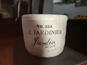 """Rustic shabby chic Ceramic Round pot with """"Le Jardinier"""" printed on front"""
