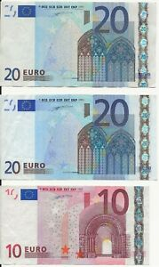 50€ Euro euros Total.  20 + 20 + 10 Euro Banknotes. Cir Notes. 3 Bills. 2002