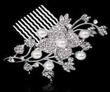 Evie Bridal Wedding Crystal Rhinestones Diamante Vintage Floral Hair Comb Clip