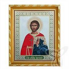 Icona Eugen santo martire legno 21x18 Евгений Святой мученик икона