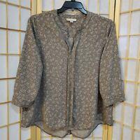 Dana Buchman Women Geometric Print Button Cuff Blouse Sz XL