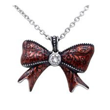 Pretty Red Bow Pendant Necklace Stainless Steel with Swarovski Crystal Controse