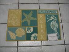 Tropical Ocean Beach Shell Seahorse Relax Latex Back Pool Door Rug Floor Mat NWT