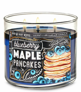 NEW! Bath Body Works BLUEBERRY MAPLE PANCAKES 3-WICK CANDLE 14.5 oz Large sweet
