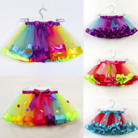 Toddler Kid Girls Rainbow Tutu Skirt Fancy Short Mini Skirts Dress Multicolor
