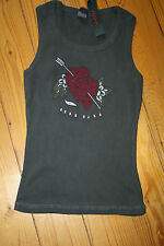 Hank made in Hollywood black cotton vest Tshirt True Love size Small crystals