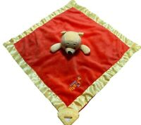 """Disney Winnie the Pooh lovey security blanket teether plush red 13"""" x 13"""""""