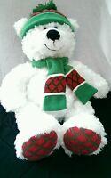 Bear Plush Hugfun White Winter Holiday Bear Scarf Hat Rudy