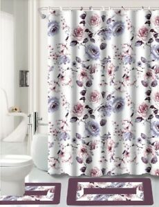 NEW COUNTRY STYLE BATHROOM SHOWER CURTAIN MATCHING BATH MAT COUNTOUR RUG SET