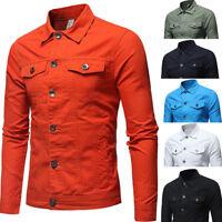 Men Casual Retro Denim Outwear Jean Jacket Spring Loose Nightclub Bar Coat Hot