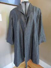 New EILEEN FISHER Silk Dark Gray Open Textured Stripes 3/4 Sleeve Jacket Size XL