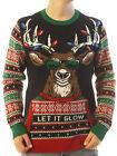 Ugly Christmas Sweater Men's Let It Glow Reindeer LED Light Up Sweatshirt