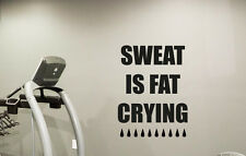 Fitness Motivational Gym Wall Decal Sweat Fat Crying Vinyl Sticker Mural 95fit