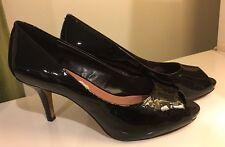 VINCE CAMUTO Kiley Black Patent Leather Peeptoe Court Shoes Pumps High Heels 9.5