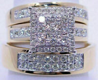 NEW 14K Yellow Gold Over Diamond Wedding/Bridal Engagement Ring His/Her Trio Set