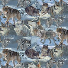 Fat Quarter Cold Winter Wolves Digitally Printed 100% Cotton Quilting Fabric