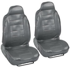 Gray PU Leather Bucket Car Seat Covers - Grey Leather 2pc Front Pair Highback