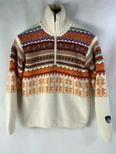 CAMPAGNOLO ITALY NORDIC SKI JUMPER SOFT KNIT WOOL SWEATER ZIP NECK Size S-M DB8