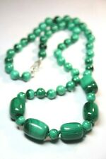 """Malachite Green Natural Barrel & 8mm Ball hand tied Silk Knotted Necklace 22"""""""