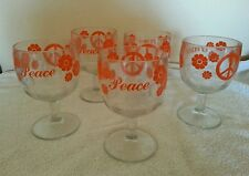 Peace Sign Red Flower Goblets 1960s/1970s Stemmed Glasses Mugs Set of 5 Rare!