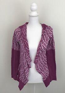 Prana Open Front Womens Sz XS Hood Rich Fuchsia NWT Pink/Purple Abstract