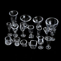Top New Type 17pcs Mini Transparent Drink Cups Dish Plate Tableware Miniatures
