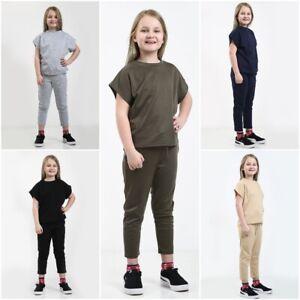 Kids Girls Short Sleeve Boxy Lounge Wear Tracksuit Set Casual Two Piece 7-13 Yrs