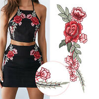 2pcs Rose Flower Applique Floral Sew Iron on Patches Badge Cool Embroidered JKB$