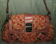 GUESS BY MARCIANO PINK ROSE G LOGO  SATCHEL HANDBAG PURSE FAUX LEATHER TRIM