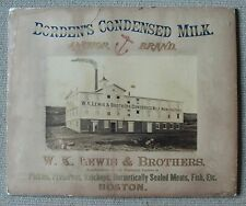 RARE Lg- Real Photo Advertising Broadside - 1870 Lewis Bros Boston Borden's Milk