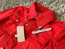 Gosha Rubchinskiy XL Solar Red Rose Clouté col Denim veste X-Large