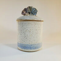 "Robin Beckett Morning Glory Lidded Canister Approx 7"" Tall Studio Art Pottery"