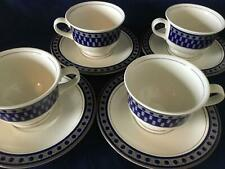 Set of 8 Mikasa Potter's Touch Aztec Blue Tea Cups & Saucers C8009 FREE SHIPPING