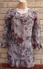 NEXT TAUPE PINK GREEN FLORAL BUTTERFLY FRILLY CHIFFON BLOUSE TUNIC TOP 16 XL