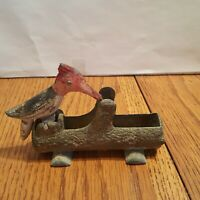 Vintage Cast Iron Red-Headed Woodpecker Toothpick Holder