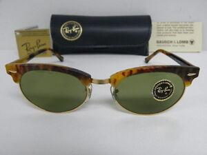 New Vintage B&L Ray Ban Clubmaster Oval Blonde Tortoise W1265 USA NOS Wayfarer
