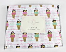 Mila & Molly Hedgehogs Ice Cream Cone Twin Sheet Set Kids Girls New.
