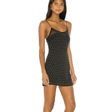 Superdown Revolve Acacia Rhinestone Mini Dress Black Sheer Chiffon Size S