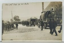 "US Soldiers WW1 Era Funeral Procession ""His Last Ride in an Auto"" Postcard P16"