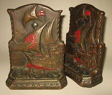 Vintage Pair Tarrant Galvano Bronze Clad Bookends Sailing Ship Nautical Book End