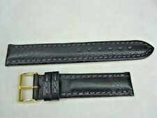 Valentia 18mm wild llama leather watch band strap black made in Italy