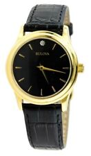 Bulova 97Y01 Gold-tone Stainless Steel Black Leather Band Diamond Womens Watch